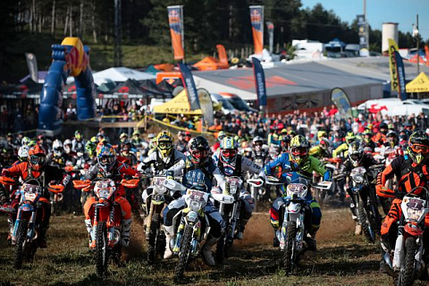 Competitors take the start at the fourth stop of the World Enduro Super Series in Aguilar de Campoo, Spain on June 22, 2019.