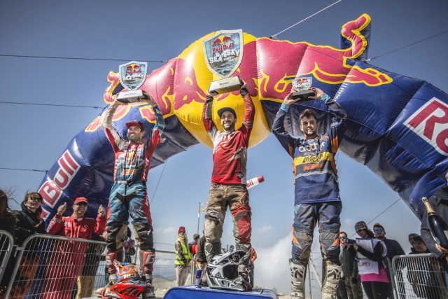 Andreas Lettenbichler (2nd), Andreas Lettenbichler (1st), Scott Bouverie (3rd) celebrate during Mountain Race at Red Bull Sea to Sky in Antalya, Turkey on October 8, 2016