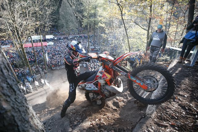 Manuel Lettenbichler performs at the eighth stop of the World Enduro Super Series at Griessbach, Germany on November 2, 2019.