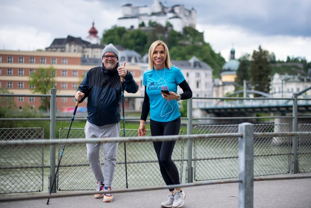 Anita Gerhardter and Gerry Friedle alias DJ Oetzi perform during the seventh edition of the Wings for Life World Run - App Run in Salzburg, Austria on May 3, 2020 // Andreas Schaad for Wings for Life World Run // SI202005030187 // Usage for editorial use only //